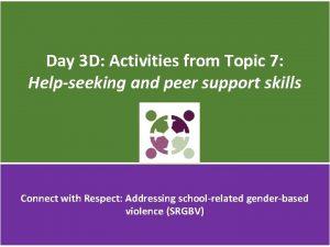 Day 3 D Activities from Topic 7 Helpseeking