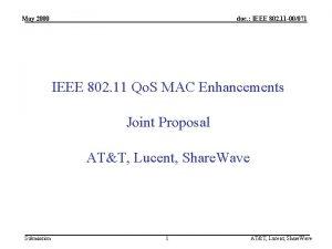 May 2000 doc IEEE 802 11 00071 IEEE