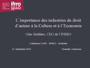 Limportance des industries du droit dauteur la Culture