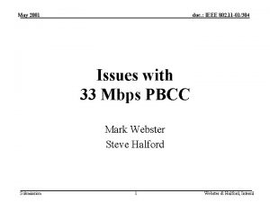 May 2001 doc IEEE 802 11 01304 Issues