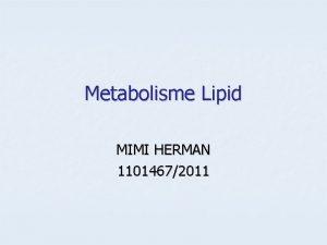 Metabolisme Lipid MIMI HERMAN 11014672011 Metabolisme LIPID Metabolisme
