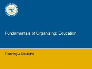 Fundamentals of Organizing Education Teaching Discipline Forms of