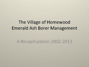 The Village of Homewood Emerald Ash Borer Management