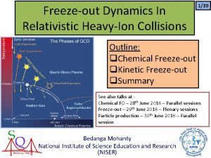 Freezeout Dynamics In Relativistic HeavyIon Collisions 120 Outline