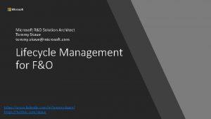 Microsoft RD Solution Architect Tommy Skaue tommy skauemicrosoft