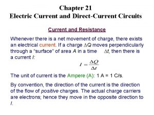 Chapter 21 Electric Current and DirectCurrent Circuits Current