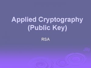 Applied Cryptography Public Key RSA Public Key Cryptography