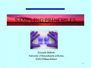 SAMPLING PRINCIPLES Research Methods University of Massachusetts at