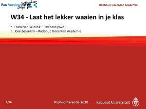 Radboud Docenten Academie W 34 Laat het lekker