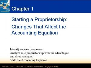Chapter 1 Starting a Proprietorship Changes That Affect