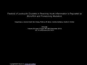 Plasticity of Leukocytic Exudates in Resolving Acute Inflammation