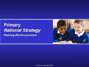 Primary National Strategy Planning effective provision Crown Copyright