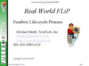 Real World FLi P Fusebox Lifecycle Process Michael