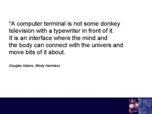 A computer terminal is not some donkey television
