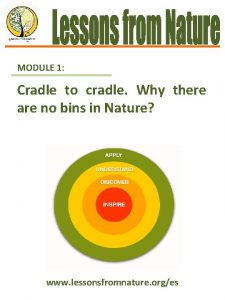 MODULE 1 Cradle to cradle Why there are