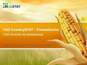 FAO Country STAT Presentacin FAO Divisin de Estadsticas