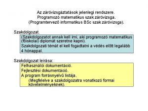 Az zrvizsgztatsok jelenlegi rendszere Programoz matematikus szak zrvizsga