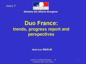 Annex F Ministre des Affaires trangres Duo France