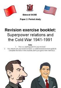 Edexcel GCSE Paper 2 Period study Revision exercise