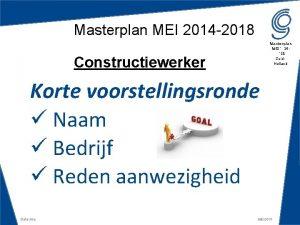 Masterplan MEI 2014 2018 Masterplan MEI 14 18