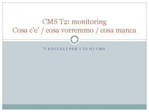 CMS T 2 monitoring Cosa ce cosa vorremmo