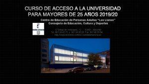 CURSO DE ACCESO A LA UNIVERSIDAD PARA MAYORES