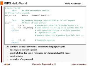MIPS Hello World MIPS Assembly 1 Hello World