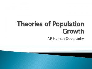 Theories of Population Growth AP Human Geography Population