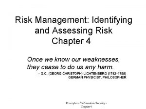 Risk Management Identifying and Assessing Risk Chapter 4