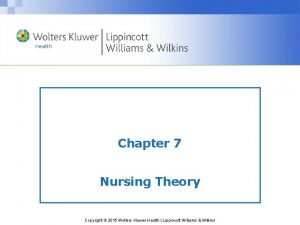 Chapter 7 Nursing Theory Copyright 2015 Wolters Kluwer