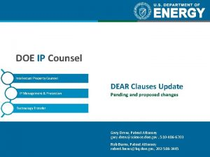 DOE IP Counsel Intellectual Property Counsel IP Management