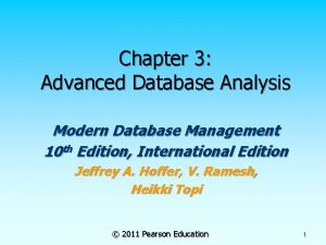 Chapter 3 Advanced Database Analysis Modern Database Management