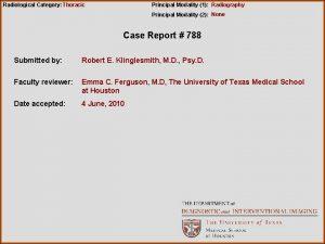 Radiological Category Thoracic Principal Modality 1 Radiography Principal