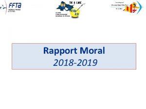 Rapport Moral 2018 2019 Rapport des Commissions 2018