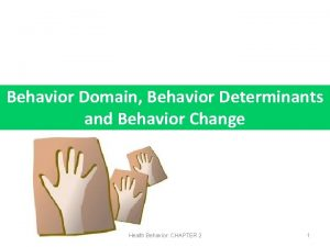 Behavior Domain Behavior Determinants and Behavior Change Health