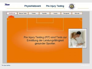 New Einfhrung Physio Netzwerk Warum Tests Trainer Pre