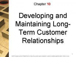 Chapter 10 Developing and Maintaining Long Term Customer