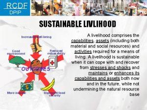 RCDF DPIP SUSTAINABLE LIVLIHOOD A livelihood comprises the
