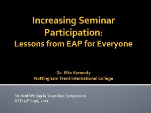 Increasing Seminar Participation Lessons from EAP for Everyone