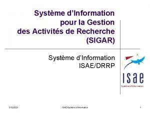 Systme dInformation pour la Gestion des Activits de