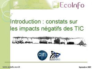 Introduction constats sur les impacts ngatifs des TIC