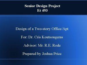 Senior Design Project Et 493 Design of a