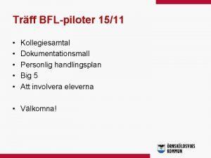 Trff BFLpiloter 1511 Kollegiesamtal Dokumentationsmall Personlig handlingsplan Big