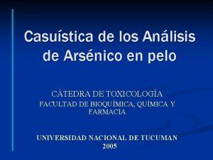 Casustica de los Anlisis de Arsnico en pelo