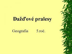 Daov pralesy Geografia 5 ro Daov lesy rast