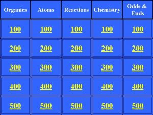 Reactions Chemistry Odds Ends Organics Atoms 100 100