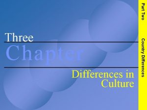 Part Two Chapter Differences in Culture Country Differences