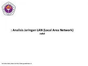 Analisis Jaringan LAN Local Area Network Judul for