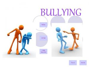 BULLYING Bullies VICTi MS CYBER BULLYING The end