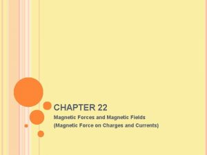 CHAPTER 22 Magnetic Forces and Magnetic Fields Magnetic